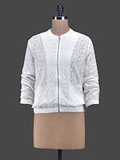 Off-white Cotton Lace Front Zipper Jacket - Oxolloxo
