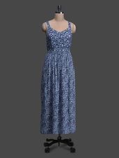 Blue Floral Viscose Maxi Dress - Oxolloxo