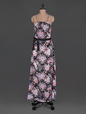 Floral Print Halter Neck Maxi Dress - Holidae