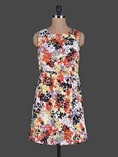 Round Neck Sleeveless Floral Print Dress - Holidae