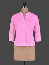 Pin Tucked Mandarin Collar Quarter Sleeve Cotton Shirt - Holidae