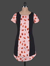 Lips Printed Round Neck Short Sleeves Dress - Holidae