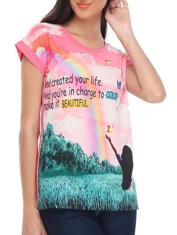 Pink Cotton Regular Top