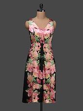 Sleeveless Floral Print Dress - Shakumbhari