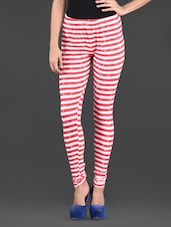 Striped Knitted Cotton Lycra Leggings - By