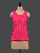 Hot Pink Polka Dots Sleeveless Cotton Top - 27Ashwood