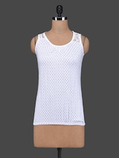 White Polka Dots Sleeveless Cotton Top - 27Ashwood