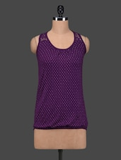 Purple Polka Dots Sleeveless Cotton Top - 27Ashwood