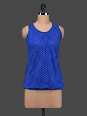 Royal Blue Polka Dots Sleeveless Cotton Top - 27Ashwood