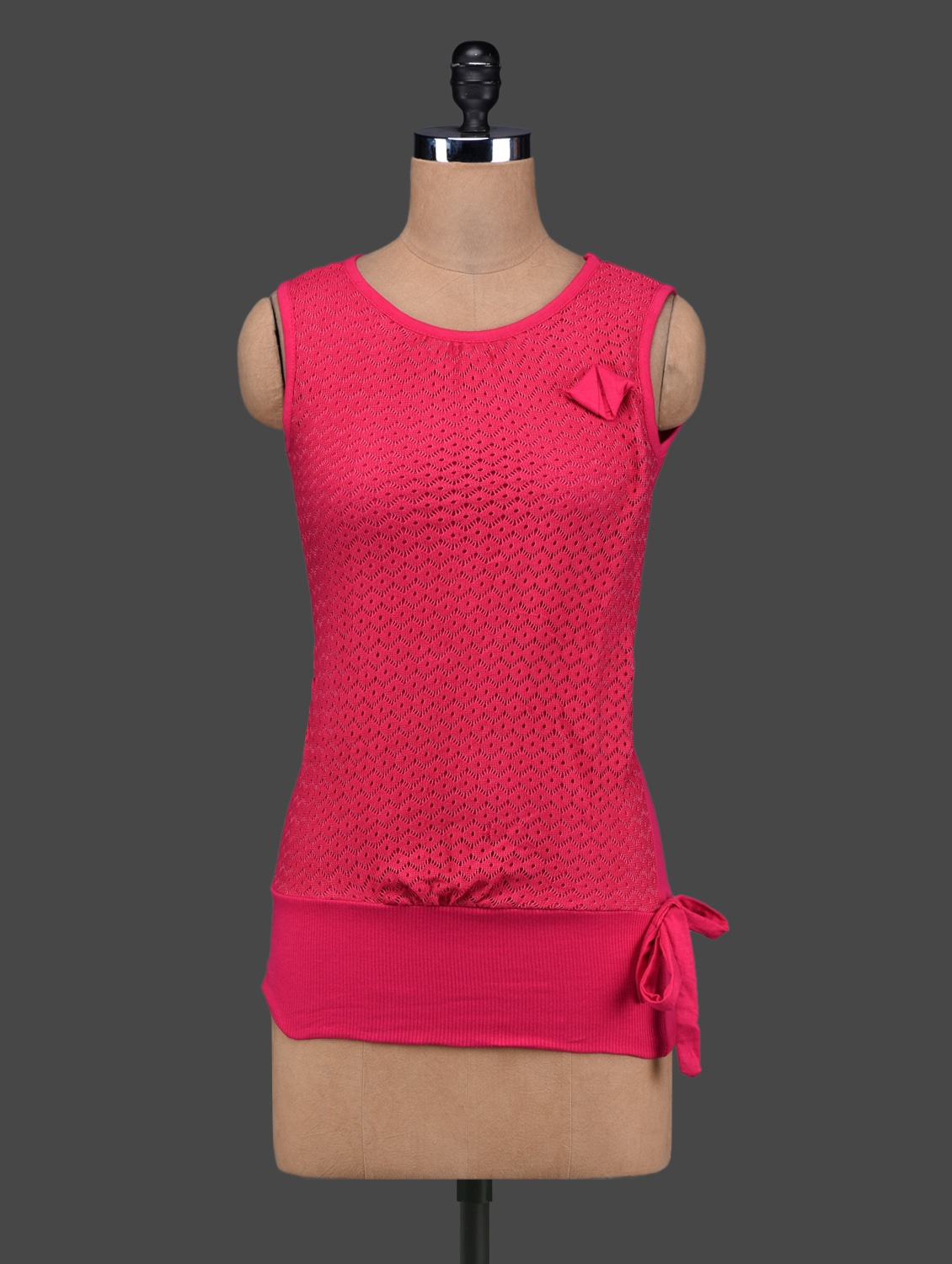 Fuchsia Cotton Lace Sleeveless Top - 27Ashwood