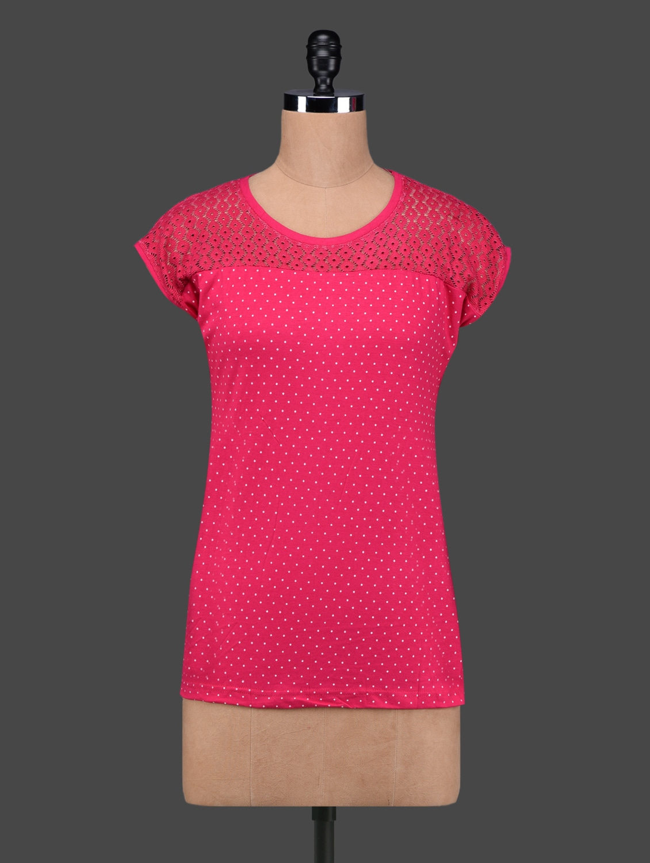 Pink Polka Dots Lace Yoke Cotton Top - 27Ashwood