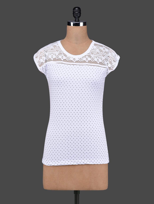 White Polka Dots Lace Yoke Cotton Top - 27Ashwood