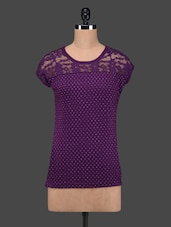 Purple Polka Dots Lace Yoke Cotton Top - 27Ashwood