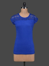 Royal Blue Polka Dots Lace Yoke Cotton Top - 27Ashwood