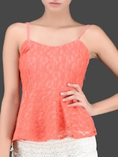 Camisole Neck Lacy Peplum Top - Miss Chase