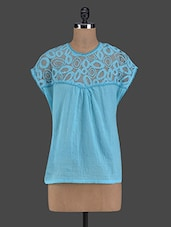 Blue Round Neck Cotton Top - I AM FOR YOU