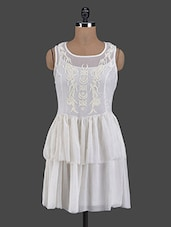 White Sleeveless Embroidered Dress - I AM FOR YOU