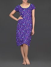 Martini Glass Printed Short Sleeves Cotton Dress - Nuteez
