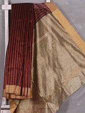 Red Striped Art Silk Saree - Komal Sarees