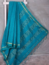 Turquoise Woven Check Saree - Komal Sarees