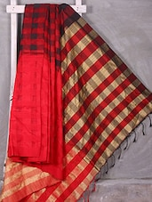 Red Woven Check Saree - Komal Sarees