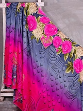 Rose Printed Border Saree - Komal Sarees