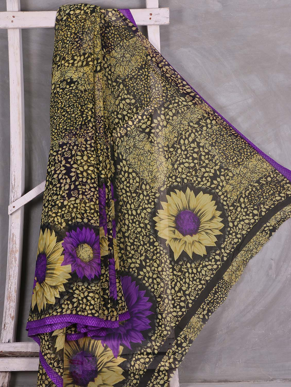 Floral Leaf Printed Saree - Komal Sarees