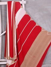 White & Red Striped Saree - Komal Sarees
