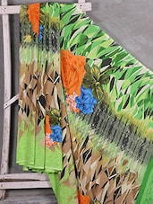 Floral & Abstract Print Crepe Saree - Komal Sarees