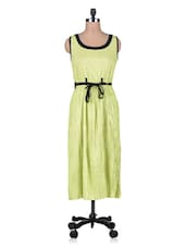 Green Cotton Dress With Fabric Belt - By
