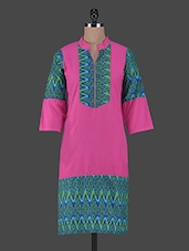 Mandarin Collar Quarter Sleeves Printed Cotton Kurta - Aamii