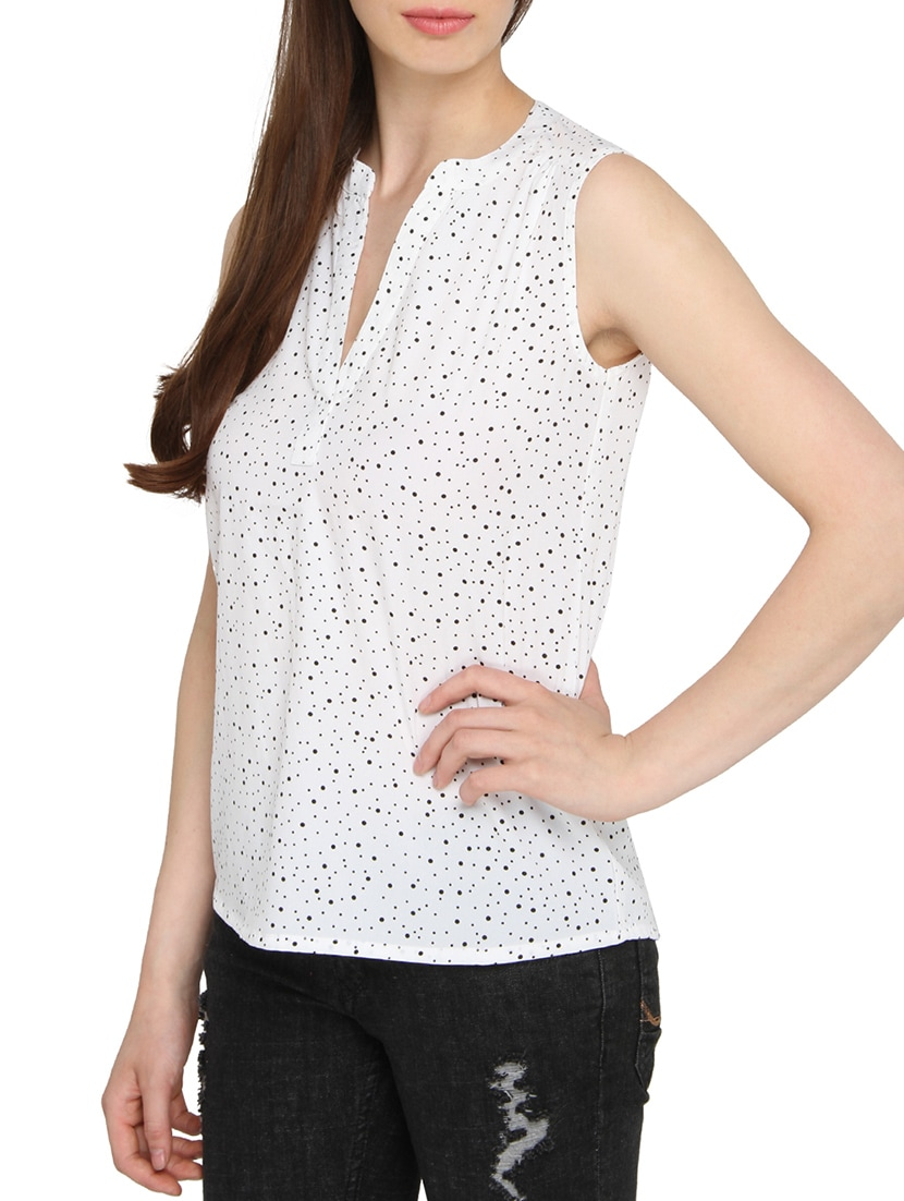 230e983b5368e4 Buy White Polyester Regular Top by The Beach Company - Online shopping for  Tops in India