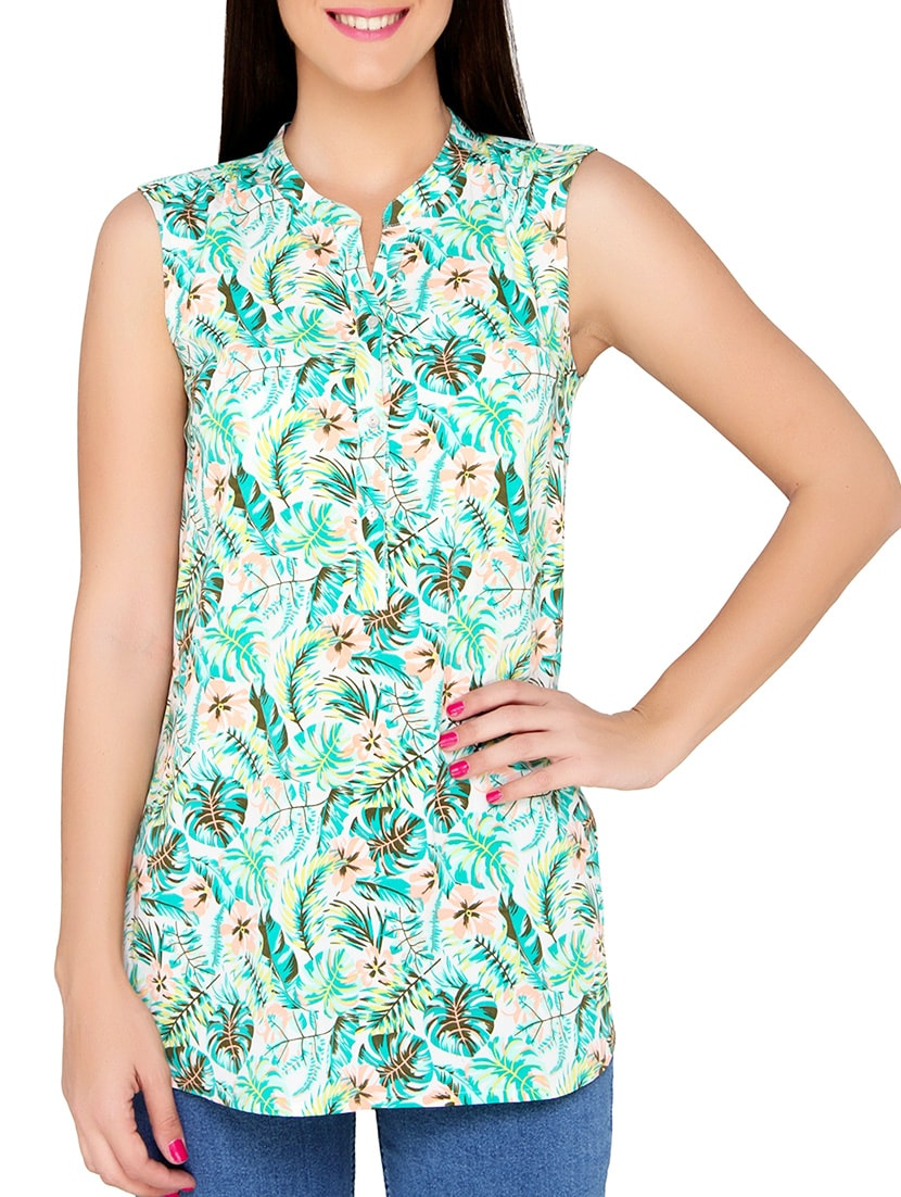 510e25c35d5fcd Buy Green Printed Regular Top by The Beach Company - Online shopping for  Tops in India