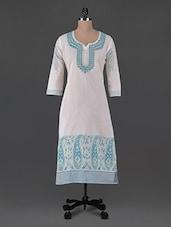 Paisley Print Quarter Sleeves Cotton Kurta - Aamii