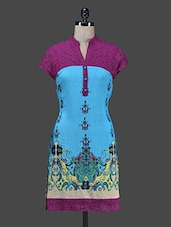 Blue Printed Short-sleeved Kurti - Paislei