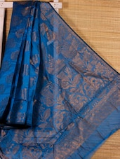 Sapphire Blue Floral Art Silk Saree - Dharitri's Choice