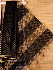 Black Leaf Patterned Cotton Silk Saree - Dharitri's Choice
