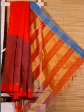 Orange And Turquoise Cotton Silk Saree - Dharitri's Choice