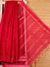 Dark Pink Cotton Silk Handloom Saree - Dharitri's Choice