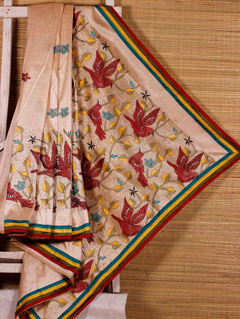 Beige Embroidered Art Silk Handloom Saree - Dharitri's Choice