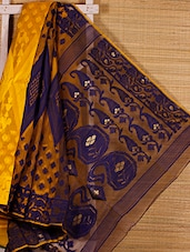 Yellow And Dark Blue Cotton Silk Saree - Dharitri's Choice