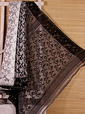 White And Black Cotton Silk Saree - Dharitri's Choice