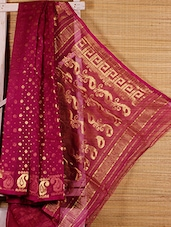 Magenta Floral Cotton Silk Saree - Dharitri's Choice