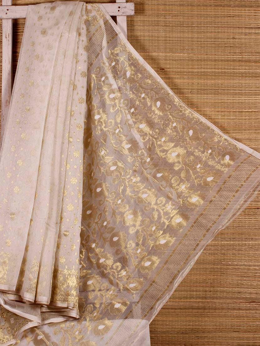 White Floral Cotton Silk Saree - Dharitri's Choice
