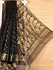 Black Floral Cotton Silk Saree - Dharitri's Choice