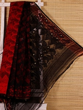 Red And Black Cotton Silk Saree - Dharitri's Choice