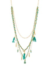 Turquoise Beaded Multilayered Necklace - Voylla