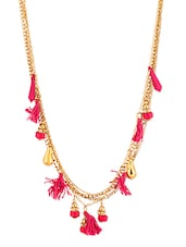 Pink Beaded Multilayered Necklace - Voylla