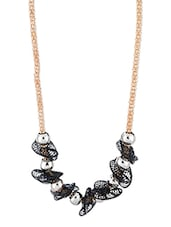 Black And Silver Beaded Necklace - Voylla