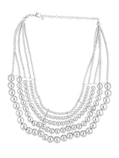 Silver Beaded Layered Necklace - Voylla